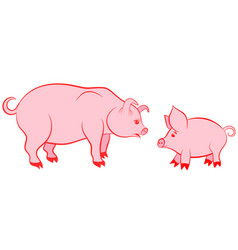 mother pig and pink piggy - symbols of 2019 vector image