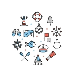 Nautical Sea Round Design Template Thin Line Icon vector