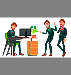 office worker businessman worker poses vector image