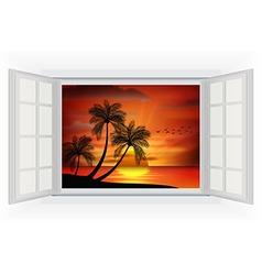Open window of sunset background on beach vector image