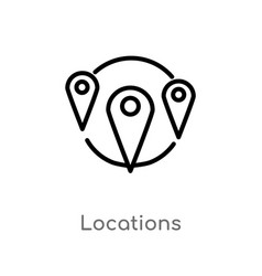 Outline locations icon isolated black simple line vector