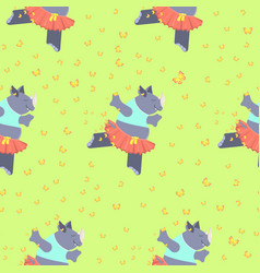 pattern with cute rhino vector image