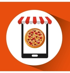 Payment credit card delivery food pizza vector