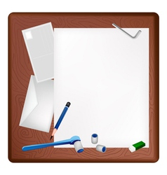 Pencil Lying and Socket Wrench on A Blank Page vector image