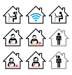 People working from home icon freelance vector