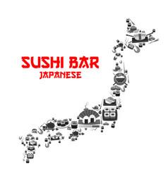 Poster for japanese sushi bar restaurant vector