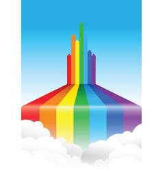 Rainbow line cloud background vector