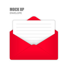 Red open envelope with empty card vector