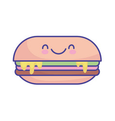 sandwich with melted cheese cartoon food cute flat vector image