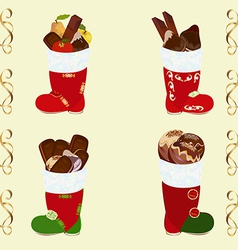 Santas boots set with sweets vector