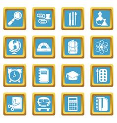 School education icons set sapphirine square vector