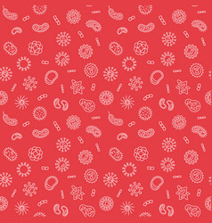 seamless virology red pattern with bacteria vector image