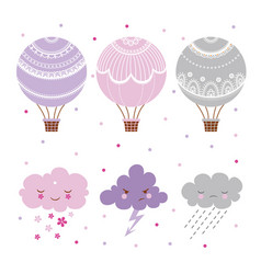 set hot air balloon vector image