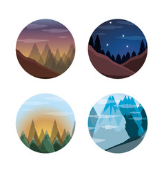 Set landscape with mountains and pine trees vector