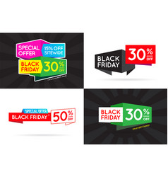 set of black friday bf sale signs banners posters vector image
