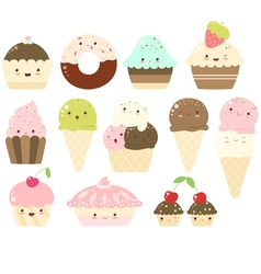Set of vanilla chocolate strawberry ice cream vector
