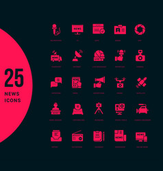 Set simple icons news vector