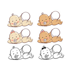 set smiling little baboy girl in diaper first vector image