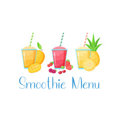 set smoothie vitamin drink flat vector image