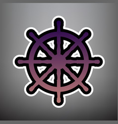 Ship wheel sign violet gradient icon with vector