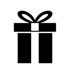 Silhouette gift box present ribbon vector