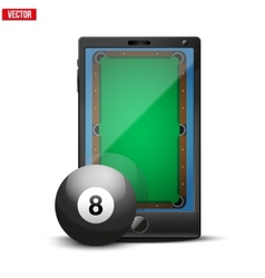 Smartphone with billiard ball and field on the vector image