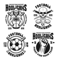 soccer hooligans set of four emblems vector image
