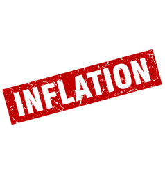Square grunge red inflation stamp vector