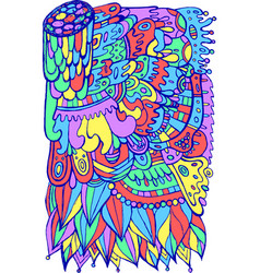 Surreal fantastic doodle pattern colorful bright vector