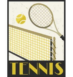 Tennis Retro poster in flat design style vector image