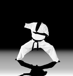 The the man is engaged in karate on a black white vector image