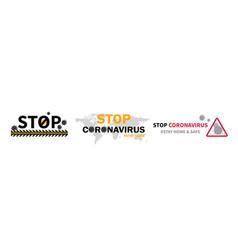 three designs to stop coronavirus on white vector image