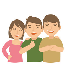 three young teenage laugh and happy vector image