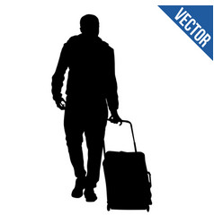 Traveler silhouette with trolley vector