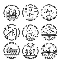 urban and nature scenes icons vector image