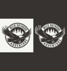 Vintage monochrome bird hunting round print vector