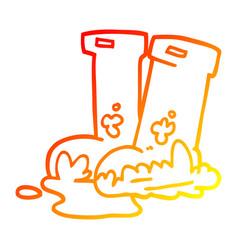 Warm gradient line drawing cartoon muddy boots vector
