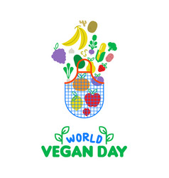 World vegan day card of vegetable and fruit icons vector