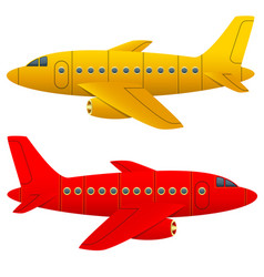 Yellow and red aircraft on a white background vector