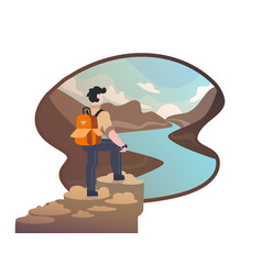 young traveler on the background of nature vector image