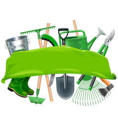 green banner with garden tools vector image