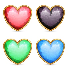 Heart shaped gems vector image vector image