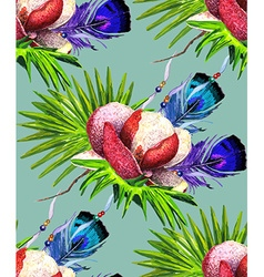 Magnolia and Feathers blue green pattern vector image