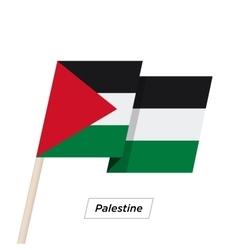 Palestine Ribbon Waving Flag Isolated on White vector image