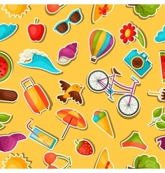 Seamless pattern with summer stickers background vector