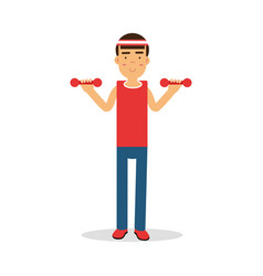 active young boy exercising with dumbells cartoon vector image vector image