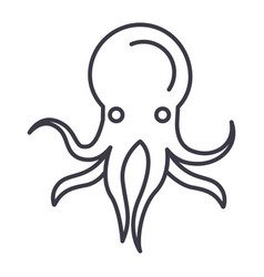 octopus line icon sign on vector image vector image