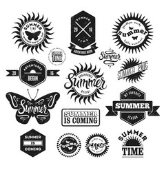 set of summer typographic retro labels and badges vector image vector image