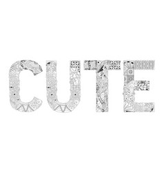word cute for coloring decorative vector image vector image