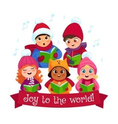 Caroling kids composition vector image